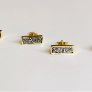 Jewelry - Platinum Silver Drusy & 18k Gold Petite Bar Studs